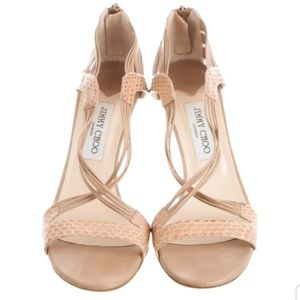 Jimmy Choo Nude Snakeskin Caged Sandals Size39 (9)